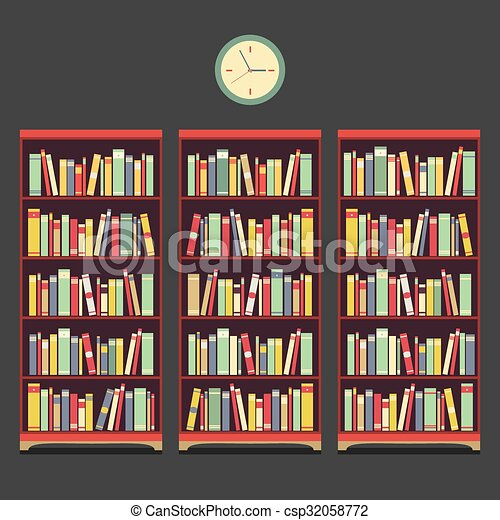 Ouderwetse , boekenkast, drie, design. Illustration., boekenkast ...