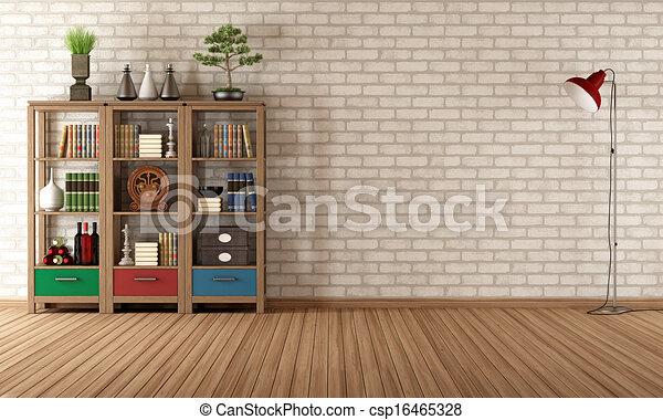 Ouderwetse , boekenkast, kamer, lege. Woonkamer, ouderwetse ...