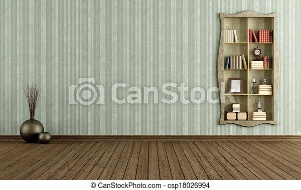 Ouderwetse , boekenkast, oud, kamer. Antieke , woonkamer ...