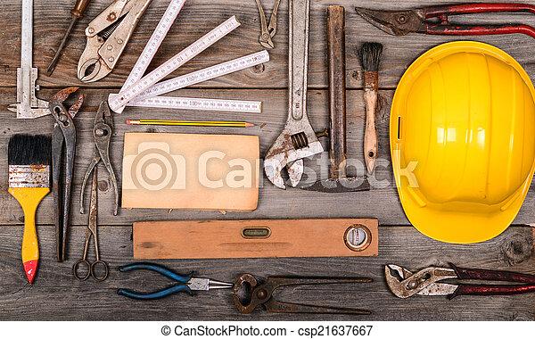 ouderwetse , bouwsector, gereedschap, achtergrond - csp21637667