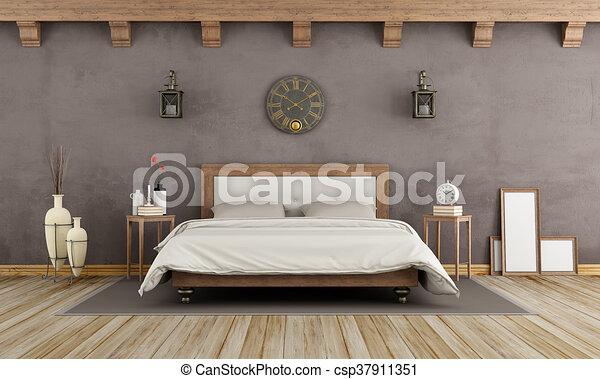 Ouderwetse , bruine , slaapkamer. Bruine , houten, dubbel ...