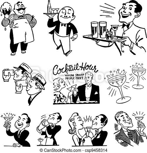 ouderwetse , drinkt, vector, bar, grafiek - csp9458314