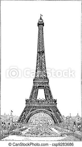 ouderwetse , eiffel, eiffel, op, gustave, meenemen, toren, ingenieur, engraving. - csp9283686
