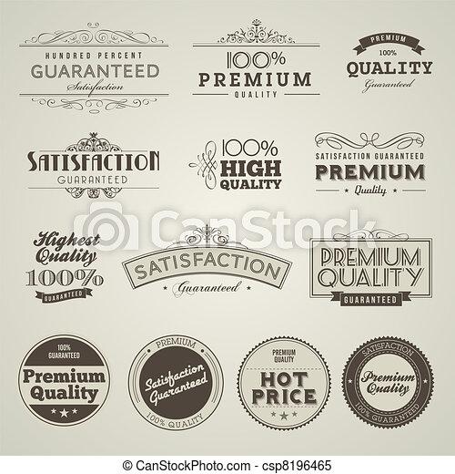 ouderwetse , etiketten, premie, kwaliteit - csp8196465