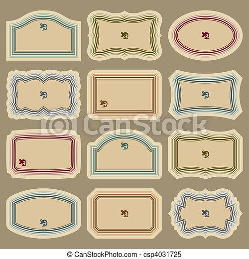 ouderwetse , etiketten, set, (vector), leeg - csp4031725
