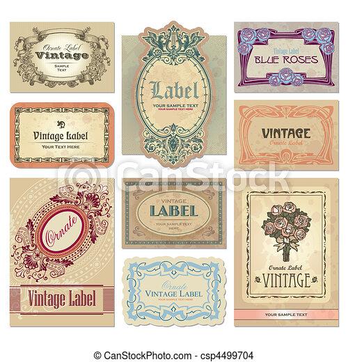 ouderwetse , etiketten, set, (vector) - csp4499704