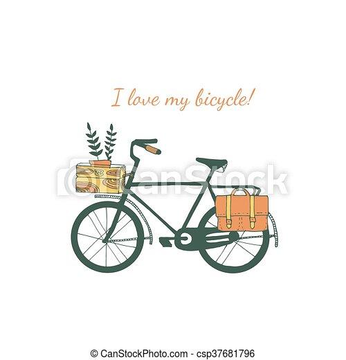 ouderwetse , fiets, illustration. - csp37681796