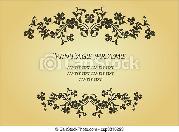 ouderwetse , frame, klavertje - csp3816293