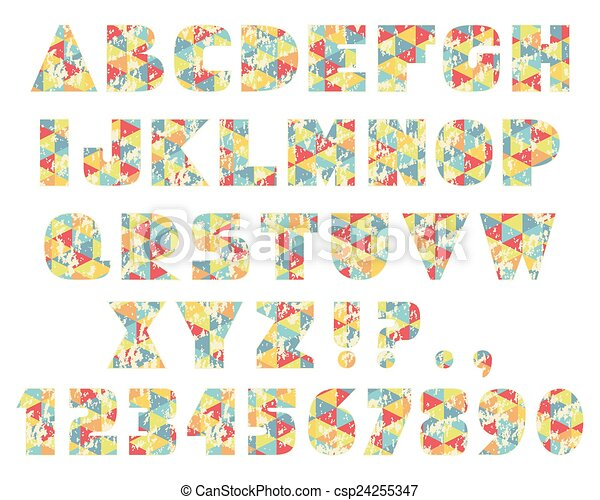 ouderwetse , geometrisch, brieven, driehoeken - csp24255347