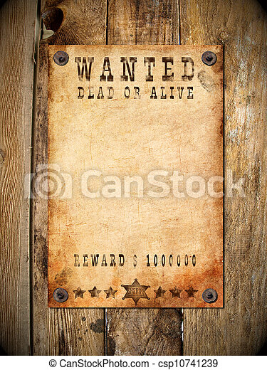 ouderwetse , gewilde affiche - csp10741239
