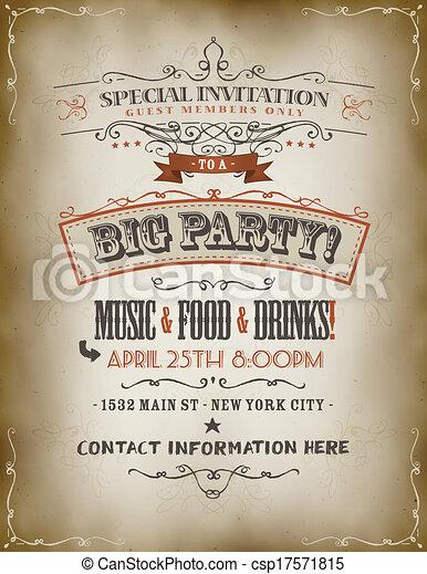 ouderwetse , groot, feestje, poster, uitnodiging - csp17571815