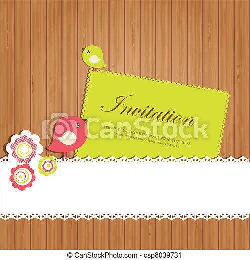 ouderwetse , kaart, uitnodiging - csp8039731