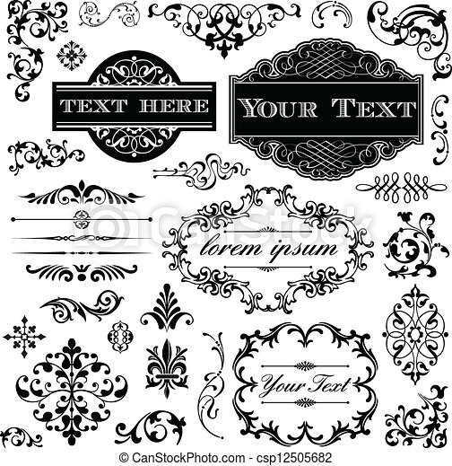 ouderwetse , kalligrafie, set, ornament - csp12505682