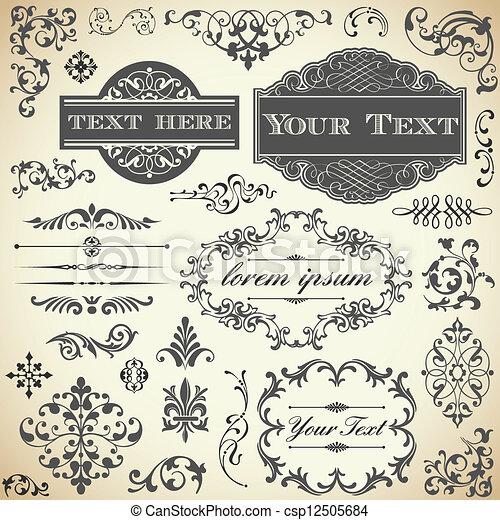 ouderwetse , kalligrafie, set, ornament - csp12505684