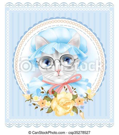 ouderwetse , kat, victoriaans, roses., verticaal, style., bril - csp35278527