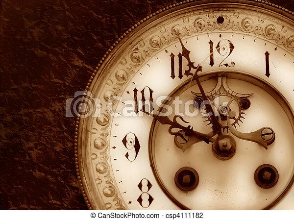 Wonderlijk Ouderwetse , klok. Oud, verlichting, achtergrond, klok. YE-32