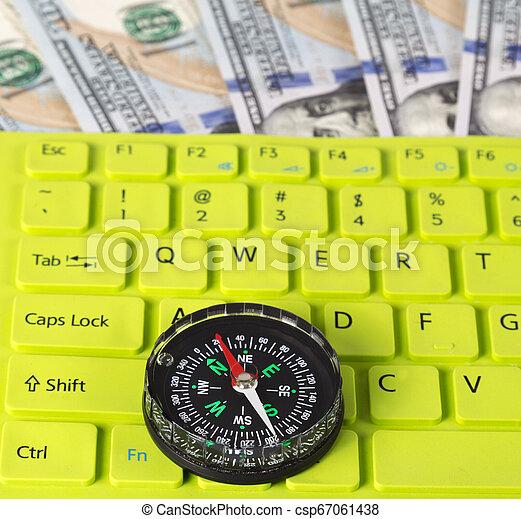 ouderwetse , knoop, dollar, ons, groen sleutel, kompas, rekeningen - csp67061438