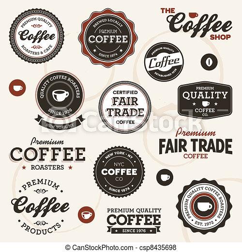 ouderwetse , koffie, etiketten - csp8435698