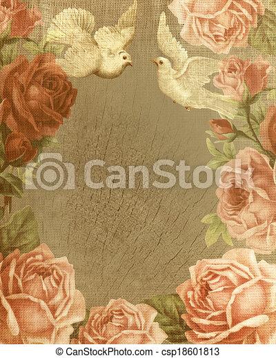 ouderwetse , liefde, achtergrond, rozen - csp18601813