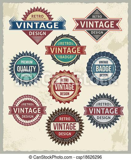 ouderwetse , ontwerpen, badge, retro, etiket - csp18626296