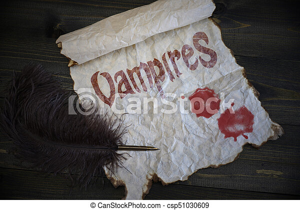 ouderwetse , oud, vampires, houten, tekst, textuur, pen, papier, bloed, bureau, druppels - csp51030609