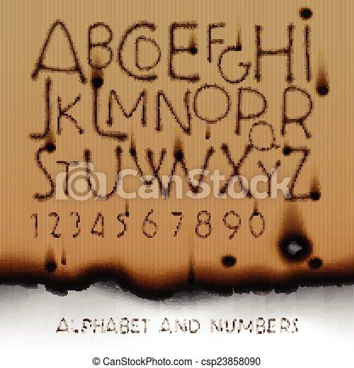 ouderwetse , papier, getallen, achtergrond, alfabet, verbrand buiten - csp23858090