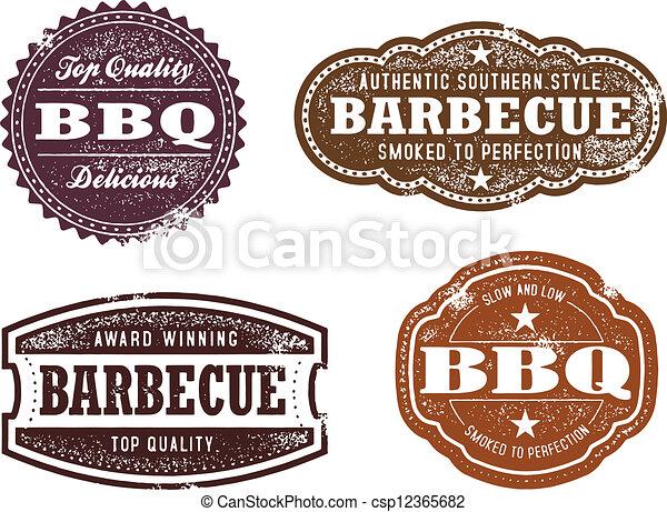 ouderwetse , postzegels, bbq - csp12365682