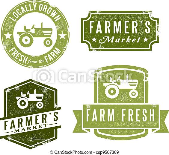 ouderwetse , postzegels, fris, markt, landbouwers - csp9507309