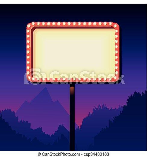 ouderwetse , teken., lights., retro, reclame, buitenreclame, straat, 3d - csp34400183