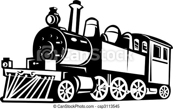 ouderwetse , trein, black , gedaan, witte , stoom - csp3113545