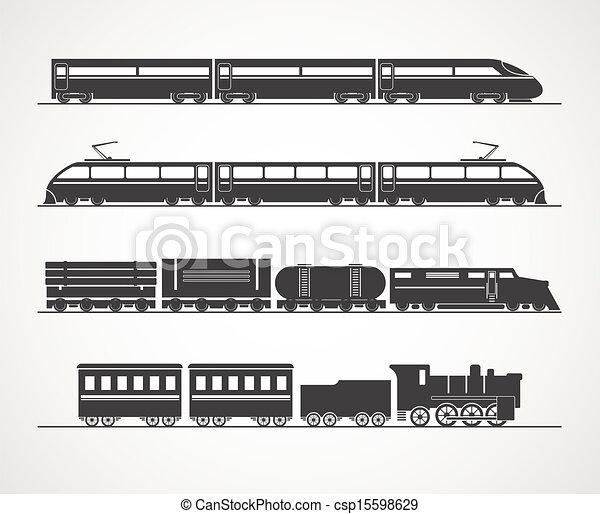 ouderwetse , trein, moderne, silhouette, verzameling - csp15598629