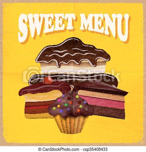 ouderwetse , vector, menu., kaart, dessert - csp35408433