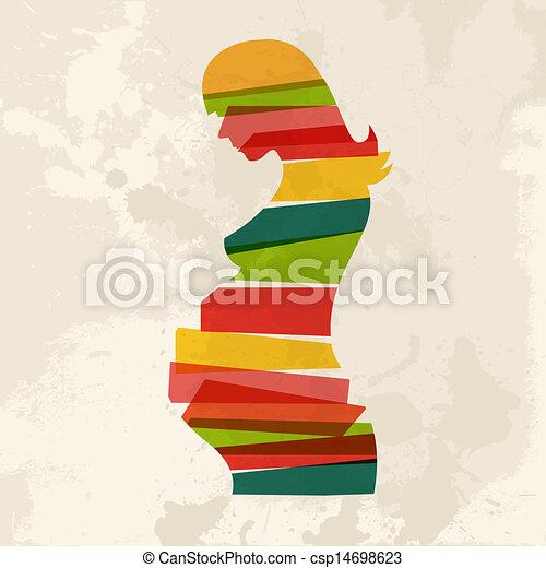ouderwetse , veelkleurig, vrouw, zwangere  - csp14698623