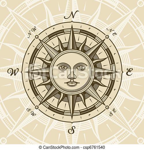 ouderwetse , zon, roos, kompas - csp6761540