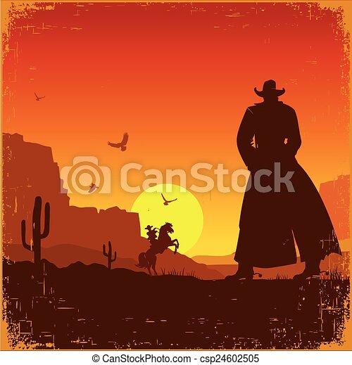 ouest, landscape.vector, américain, occidental, affiche, sauvage - csp24602505