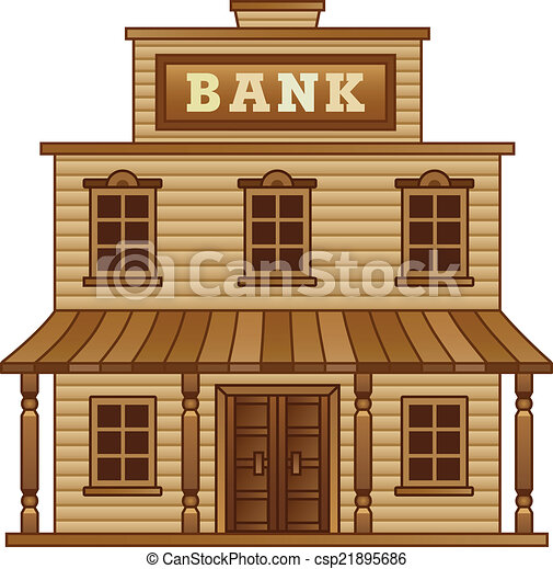 ouest sauvage, bâtiment, banque - csp21895686