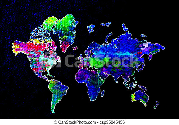 Our colorful world artistic world map stock illustrations search our colorful world csp35245456 gumiabroncs Gallery