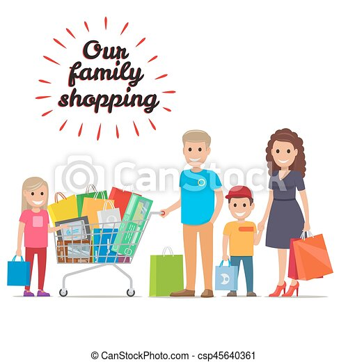 e29f325bbee88 Our family shopping flat vector concept. Family making holiday ...
