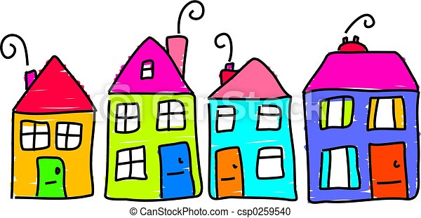 our street toddler drawing of a street of houses stock illustration rh canstockphoto com Orange House Open House