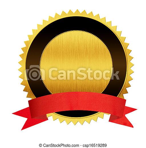 ouro, isolado, vermelho, selo, medalha, fita - csp16519289