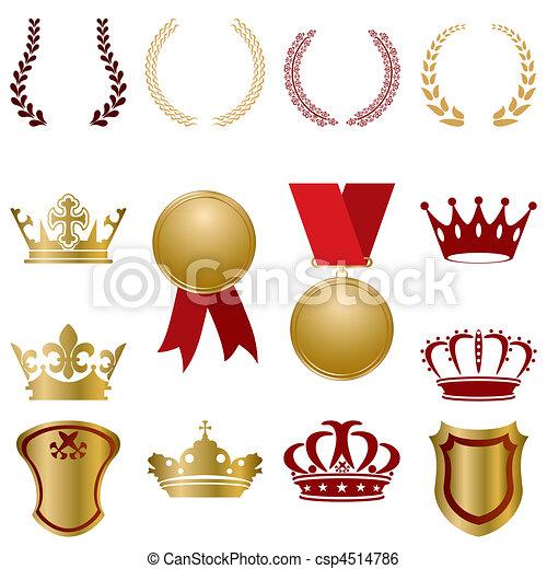 ouro, jogo, vermelho, ornamentos - csp4514786