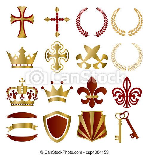 ouro, jogo, vermelho, ornamentos - csp4084153