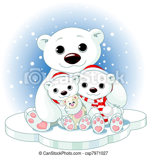Ours Blanc Noel Famille Polaire Famille Ours Glace Noel