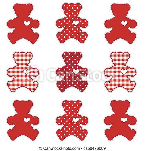 ours nounours, rouges, valentin - csp8476089
