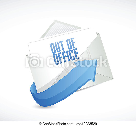 out of office reply email envelope illustration design over a white rh canstockphoto com out of office clipart free Funny Signs Out of Office