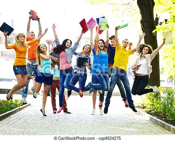 outdoor., ノート, グループ, 学生 - csp9524275