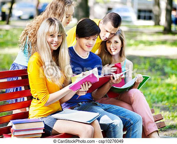 outdoor., ノート, グループ, 学生 - csp10276049