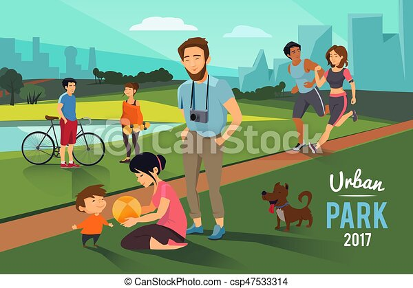 Outdoor Activities In Urban Park Happy Family With Kid Runners Couple Vector Background