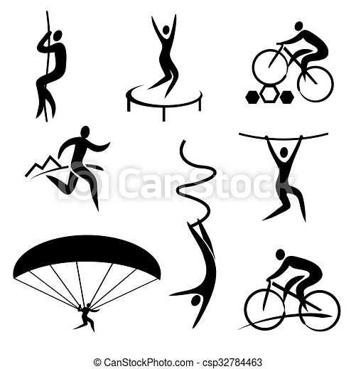 Outdoor adventure sport icons. Set of black icons with ...