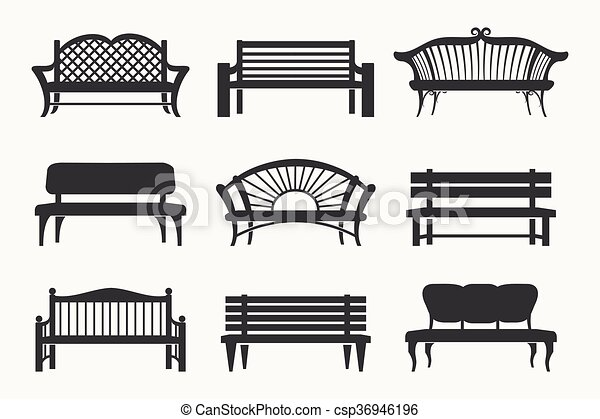 Outdoor Benches Icons Bench Black Icons Vector Illustration